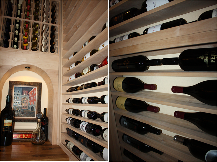Texas wine cellar built in a small storage closet for Turn closet into wine cellar