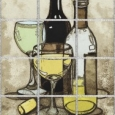Wine Bottle and Glasses by Peggy Wilson