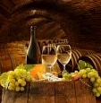 White Wine and Grapes in Underground Wine Cellar - Mural