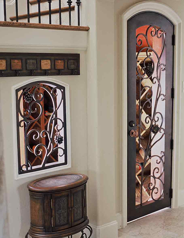 hand forged wrought iron custom wine cellar doors gates