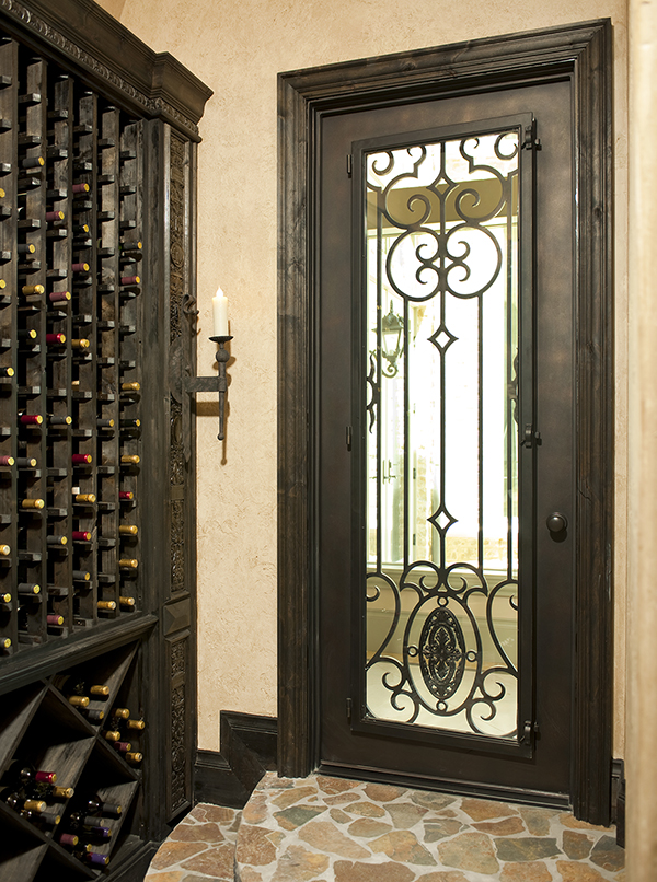 Exceptional Dallas Diamond View Wrought Iron Wine Cellar Door