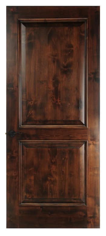 Solid two panel square door with accent trim on each panel.