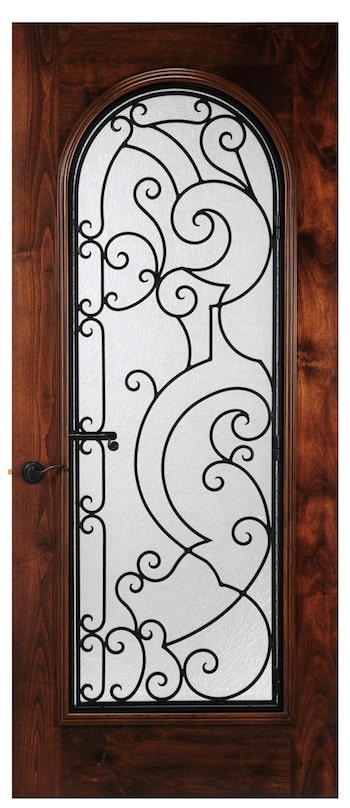 An unusual design in operable wrought iron that makes a statement. Arched glass on a square door.