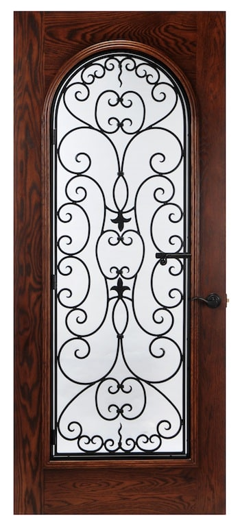 Stunning iron design that is operable on this square wood door with arched glass.