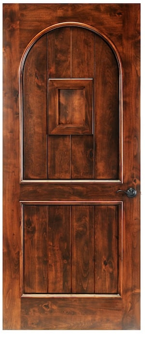 A square solid door in the Chianti design. This door features a false speakeasy square centered in vertical panels. The door is an arched wood design on a square door.