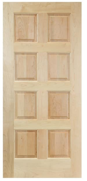 The eight panel door is exactly as it sounds. A solid door with eight small rectangular solid wood panels. This door could also be made with eight panel windows.