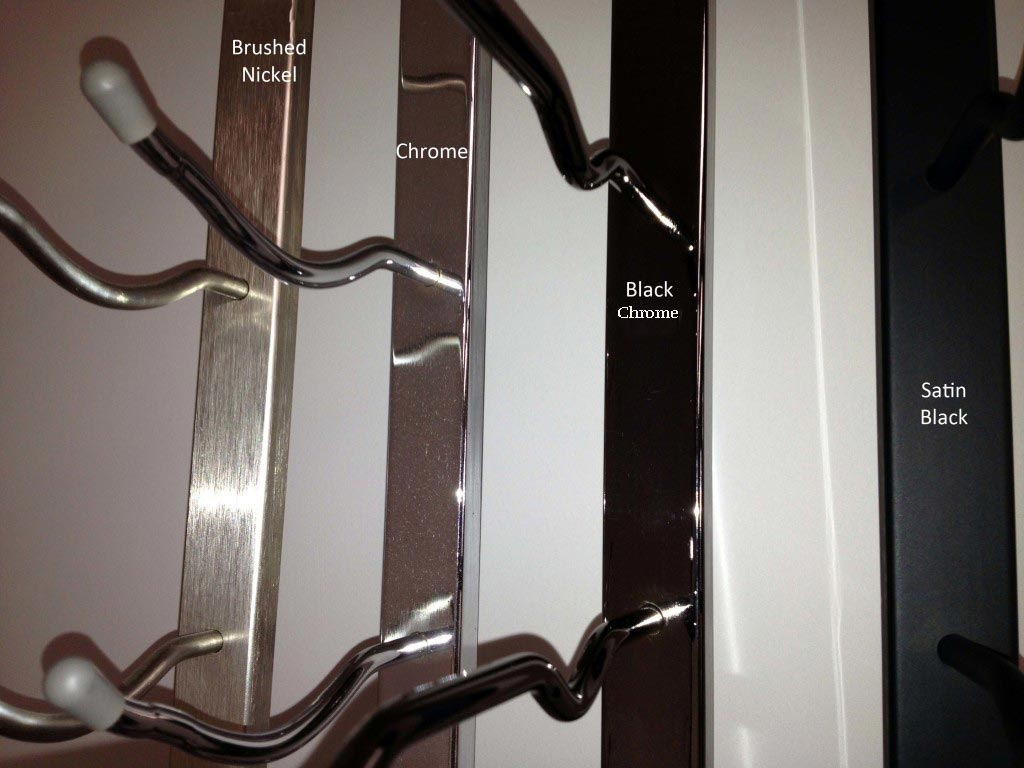 VintageView Wall Series Metal Wine Rack colors Brushed Nickel, Chrome, Black Chrome and Satin Black.