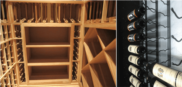 wood and metal  wine racks for Texas wine cellars
