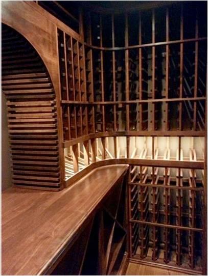 Custom Wine Cellar Racks Made from Knotty Alder Wood