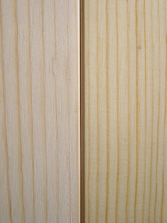 Unfinished Pine (Left) Lacquered Pine (Right)