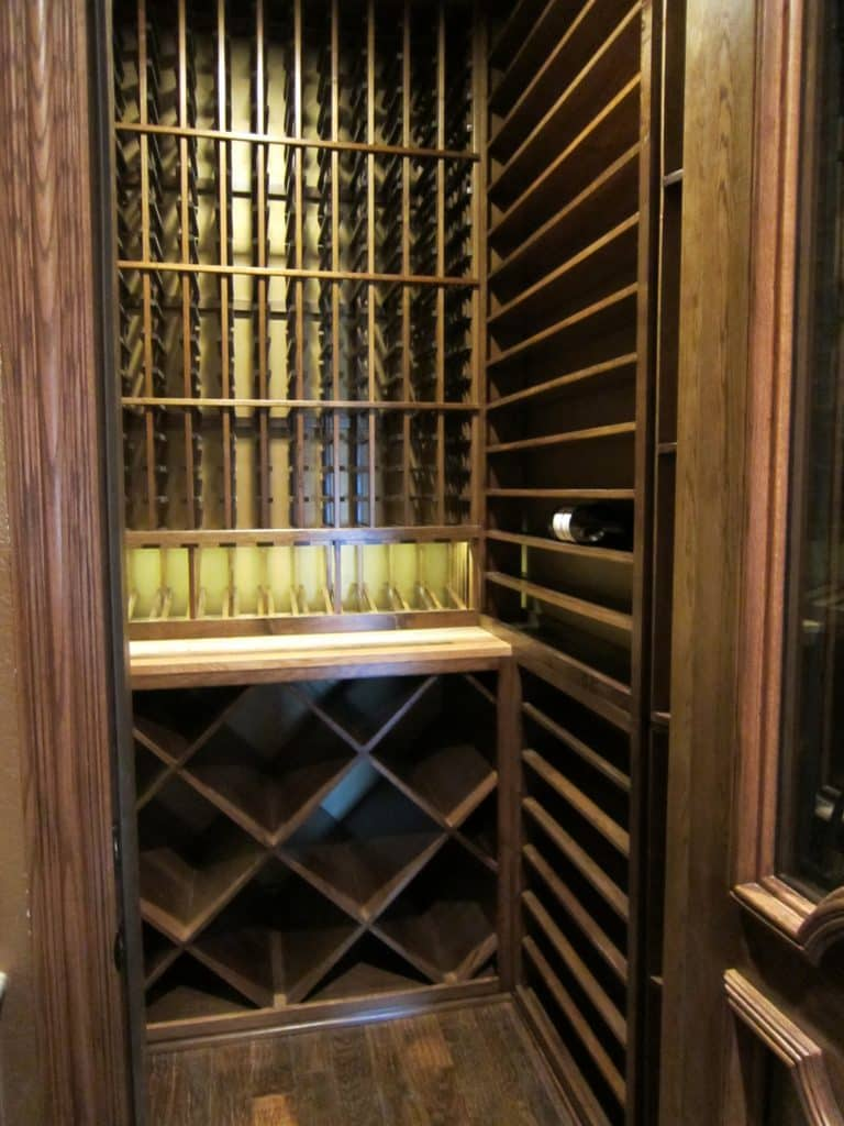 The Completed Dallas Custom Wine Cellar - Early American Stain and Lacquer on Custom Racks - Wine Celar Lighting