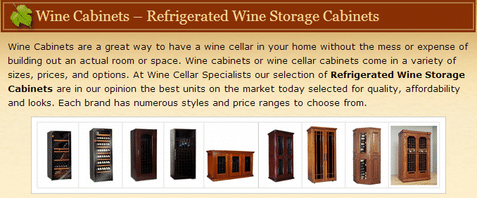 Watch a video here to learn more about wine cabinets!