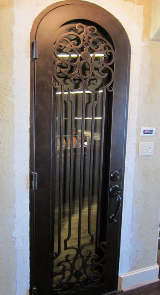 Venetian View Wrought Iron Door with Operable Glass - Custom Wine Cellar Door Texas Burke