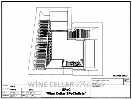 Overhead View - 3D Drawing by Wine Cellar Builders Dallas