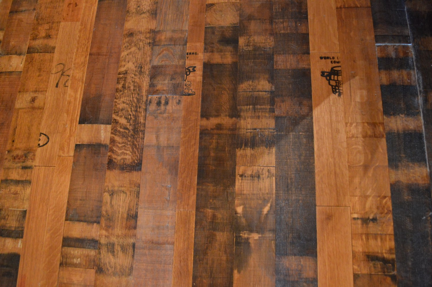 Florida Reclaimed Wine Barrel Flooring with Cooperage Stamps - Naples Project