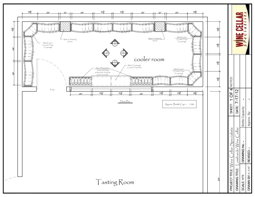 Florida Custom Wine Cellar Design Drawing