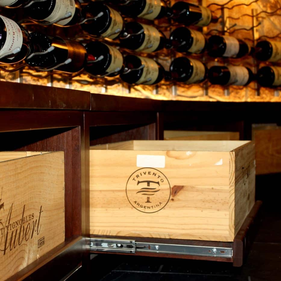 Rolling Case Storage - Wine Cellar Design Coppell Texas Project