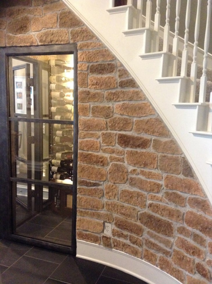 Stone Coat to the Interior and Exterior Walls - Wine Cellar Design Coppell Texas