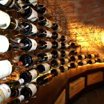 Wine Cellar Lighting Spot Lights Shine Toward the Bottles