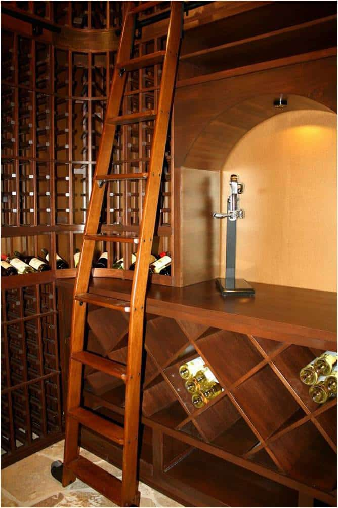 Chevis wine cellar rolling ladder