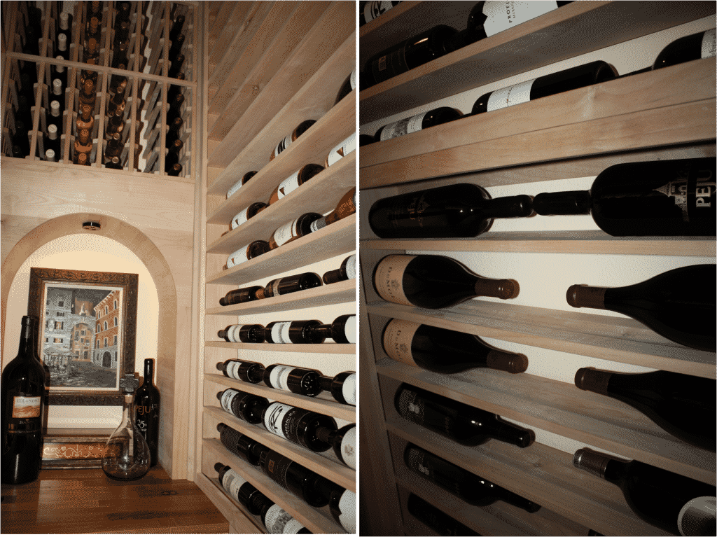 Texas wine cellar horizontal racking holds 750 size bottles above the tabletop level