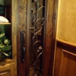 Stunning Glass Wrought Iron Custom Wine Room Door Close Up