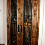 1 Double knotty alder Texas Trophy wine cellar doors with Early American stain and lacquer
