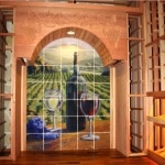 23. Wine Racks for Big Bottles (Horizontal) with Tile Mural in Colleyville, Texas