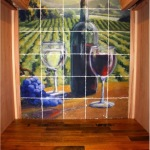 33. Wine Room Tumbled Marble Tile Mural and Reclaimed Cooperage Tabletop