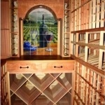 34. Wine Room with Redwood Wine Racks in Texas