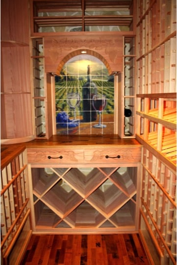 Decorative Custom Back Wall of Wine Room in Colleyville Project