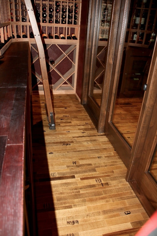 Cooperage wine cellar flooring by Wine Cellar Specialists Texas