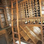 New Orleans wine cellar bent ladder allows usage over double deep end section