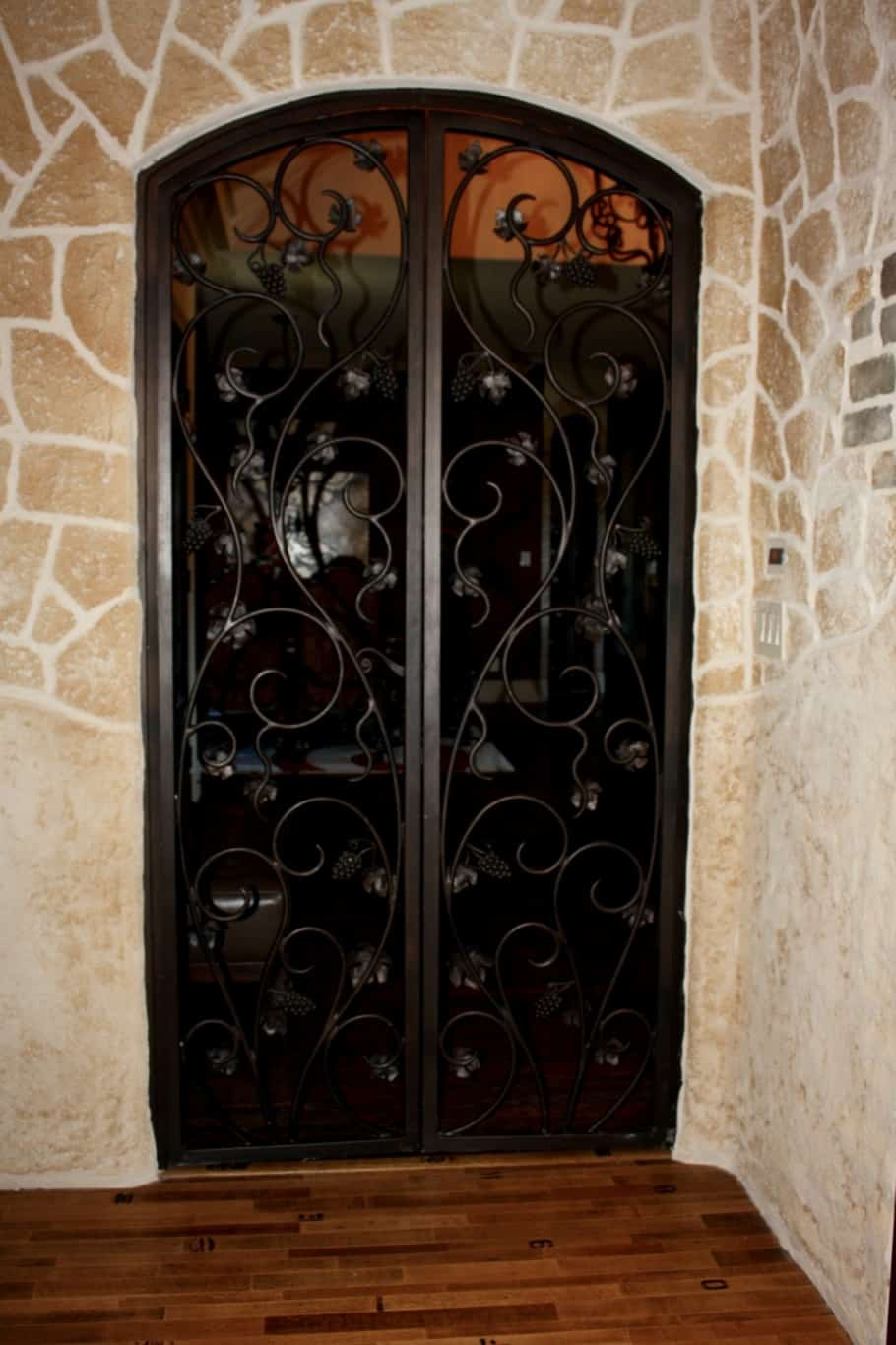 custom wrought iron gate entrance to the wine tasting room