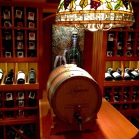 1 - Chicago Basement Wine Room - Tabletop and Wine Barrel