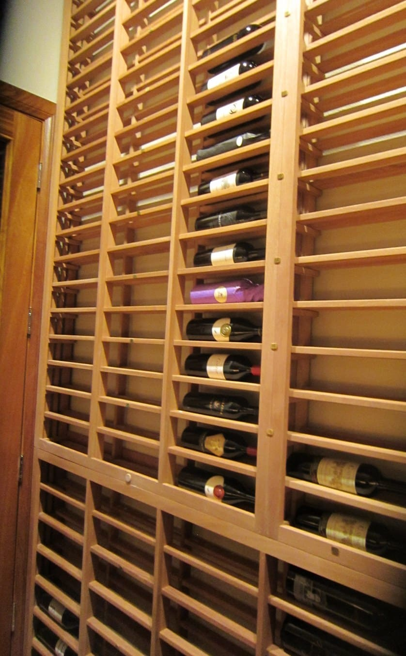 Left Wall Lattice Horizontal Wooden Racking Office Wine Cellar Texas