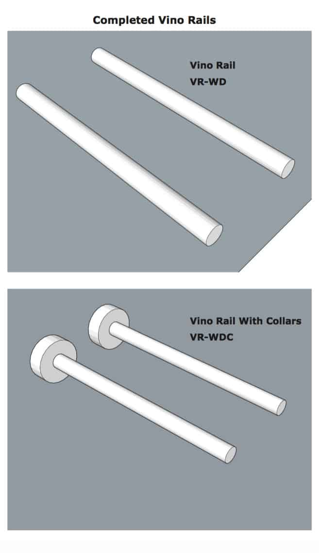 Diagram for completed Vino Rails with collars and without.