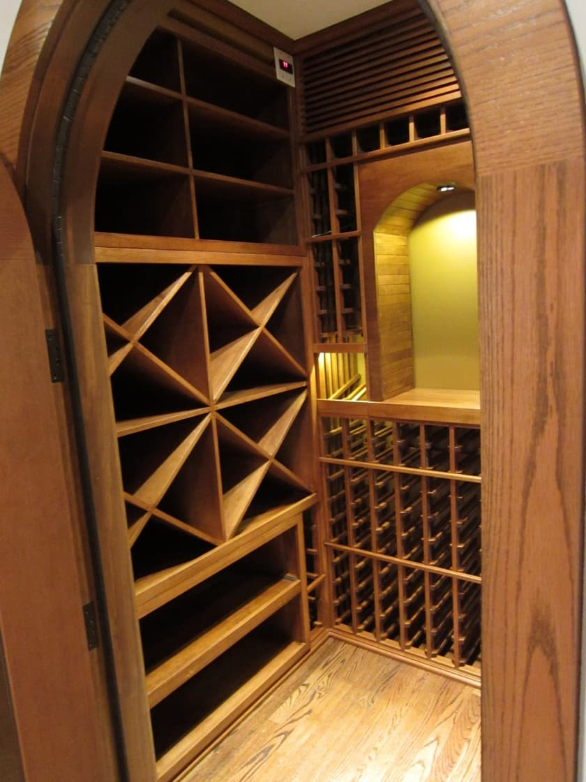 Climate-Controlled Wine Cellar with Wooden Wine Racks