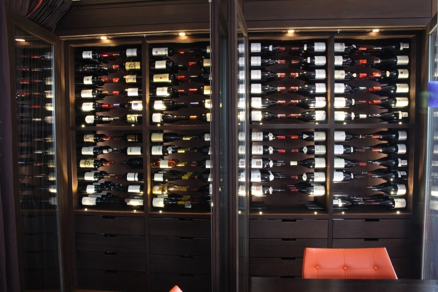 Gravity Series metal wine racks with built in LEDs