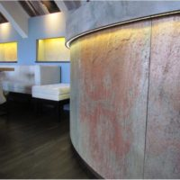 Thin Slate Veneer Backlighting Fixtures for Curved Walls