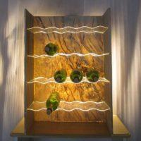 Real Stone Veneer Wavy Acrylic Backlit Wine Rack