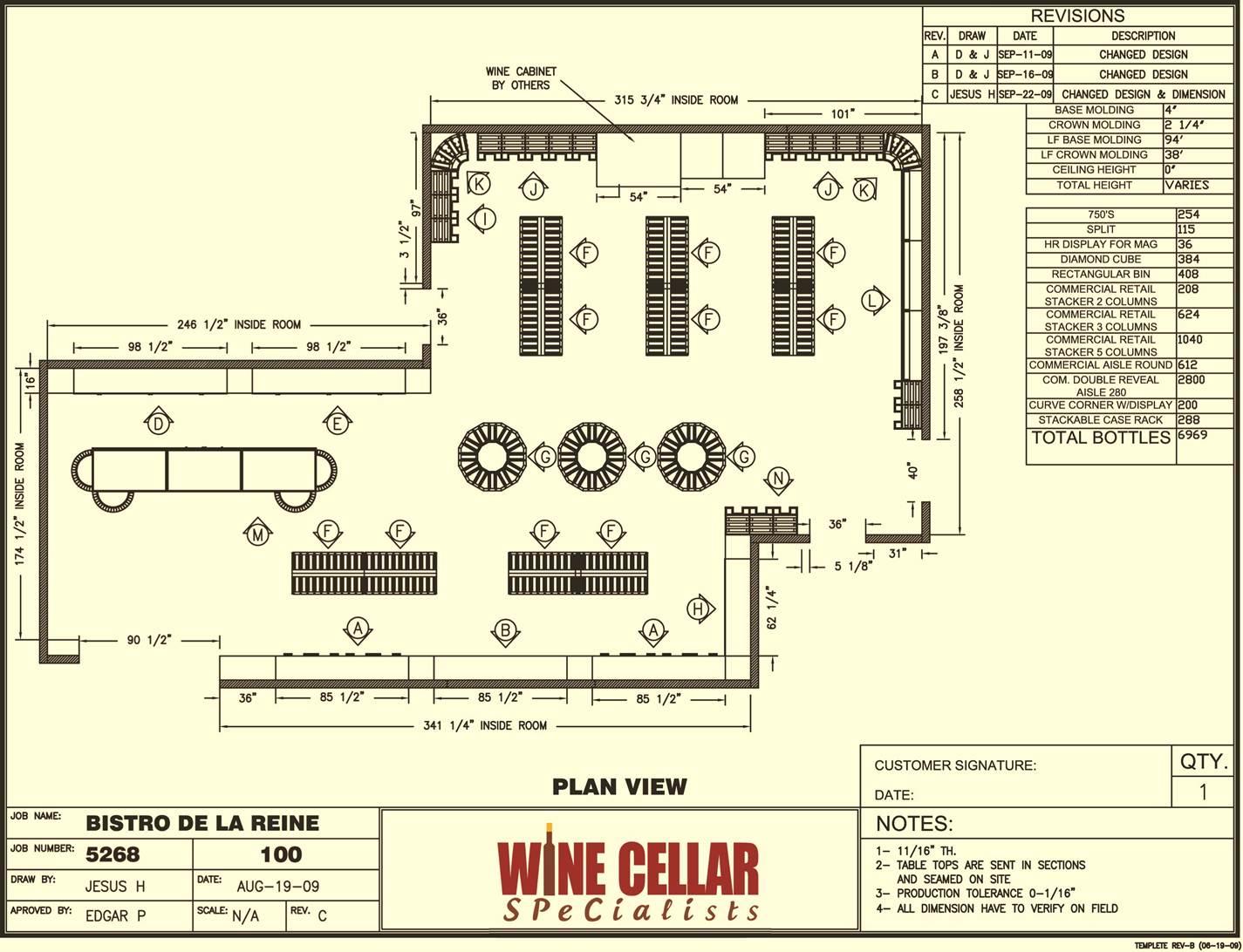 Commercial Wine Racks Design Plan Bistro De La Reine Louisiana