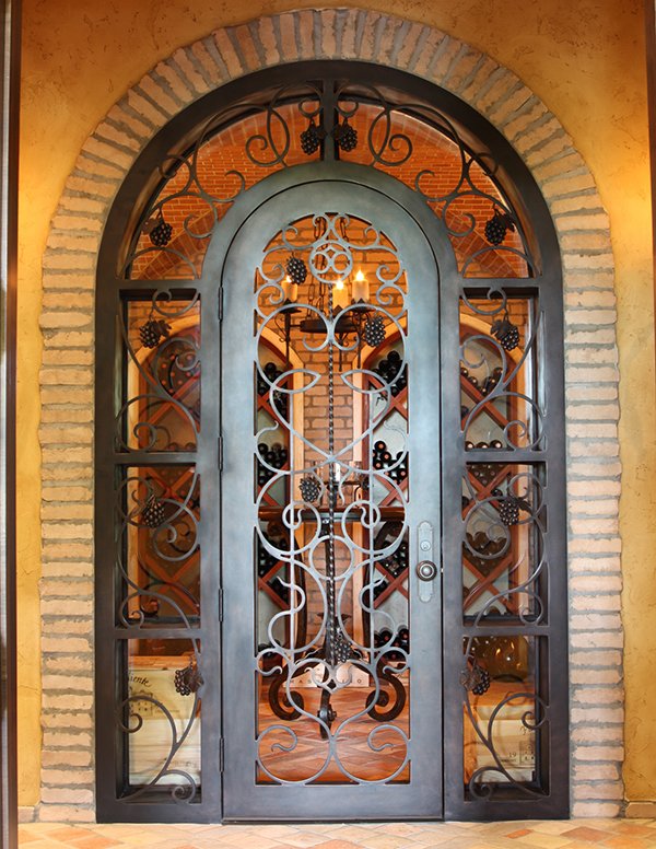 fort-worth-tuscan-wrapped-arch-grapes-wrought-iron- & Hand Forged Wrought Iron Custom Wine Cellar Doors u0026 Gates